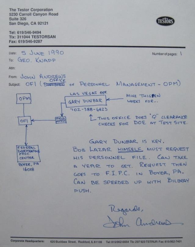 Letter to George Knapp